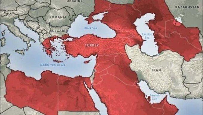 اردوغان از نقشه فرضی امپراتوری خود رونمایی کرد!